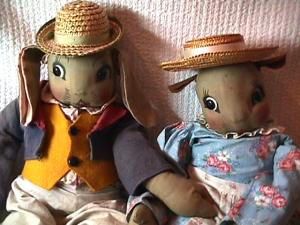 Antique Pair of  Cloth Rabbits