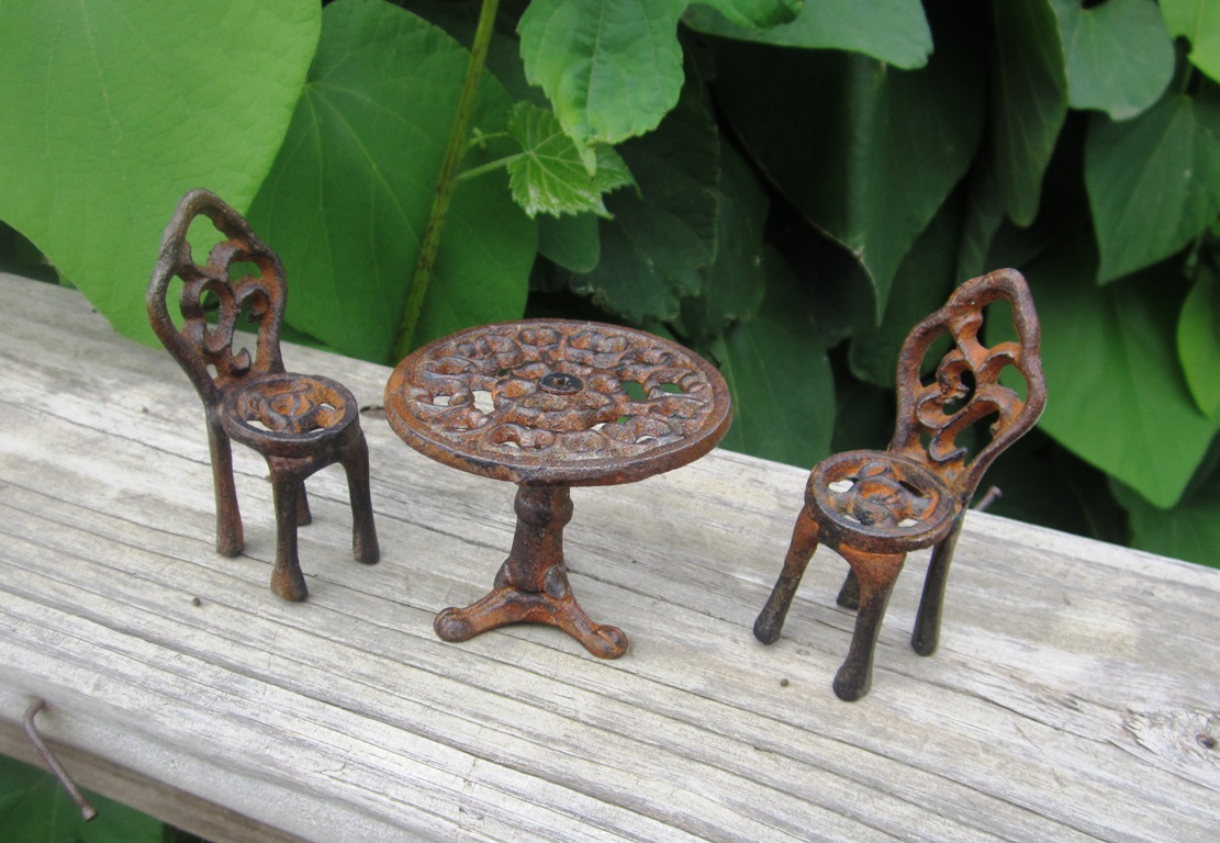 Cast Iron Miniature Bistro Table and Chair Set Fairy Garden Furniture