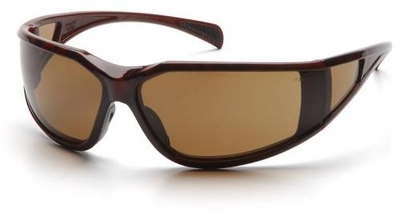 Pyramex Exeter Safety Glasses with Tortoise Frame and Coffee Anti-Fog Lens