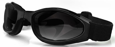 Bobster Crossfire Folding Goggle with Black Frame and Smoke Lens