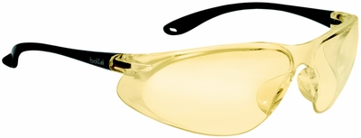 Bolle Spirit Safety Glasses with Matte Black Temples and Yellow Anti-Scratch and Anti-Fog Lens