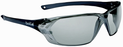 Bolle Prism Safety Glasses with Shiny Black Frame and Silver Mirror Anti-Scratch Lens