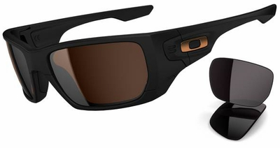 Oakley Styleswitch Sunglasses with Matte Black Frame and Dark Bronze and Warm Grey Lenses