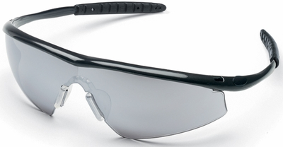Crews Tremor Safety Glasses with Onyx Frame and Silver Mirror Lens