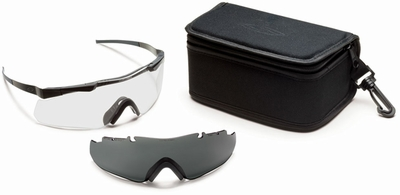 Smith Elite Aegis Echo Tactical Eyeshield Field Kit with Black Frame and Clear and Gray Lenses