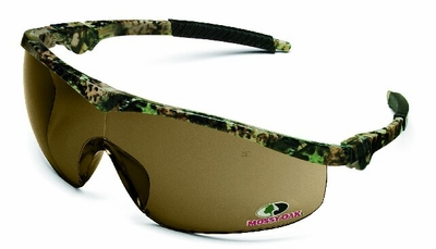 Crews Storm Safety Glasses with Mossy Oak Frame and Brown Lens