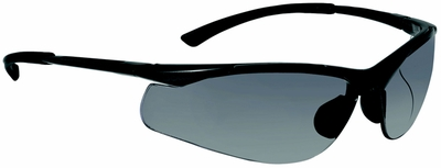 Bolle Contour Safety Glasses with Gunmetal colored Frame and Smoke Anti-Scratch and Anti-Fog Lenses