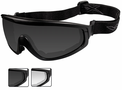 Wiley-X CQC Ballistic Safety Glasses/Goggle Kit with Black Frame, Temples, Strap, and Smoke Gray and Clear Lenses