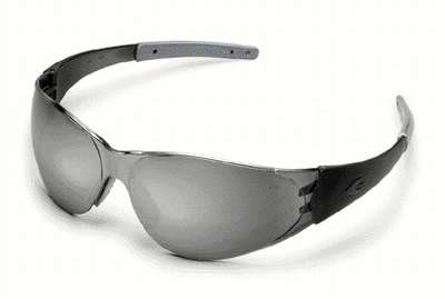 Crews CK2 Safety Glasses with Smoke Temples and Silver Mirror Lens
