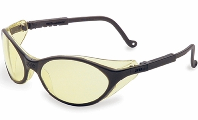 Uvex Bandit Safety Glasses with Black Frame and Amber Lens