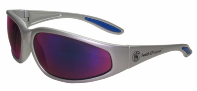 Smith & Wesson 38 Special Safety Glasses with Silver Frame and Blue Mirror Lens
