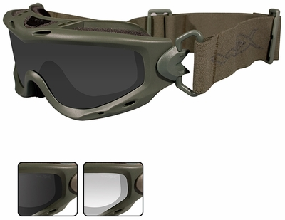 Wiley-X Spear Ballistic Safety Goggle with Foliage Green Frame and Smoke Grey and Clear Lenses