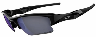 Oakley Flak Jacket XLJ Sunglasses Fishing Specific with Polished Black Frame and Deep Blue Polarized Lens