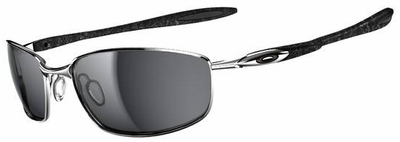 Oakley Blender Sunglasses with Chrome/Silver Ghost Text Frame and Black Iridium Lenses
