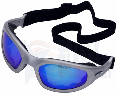 Orange County Choppers OCC601 Dust/Impact Goggle with Silver Frame and Blue Mirror Lens