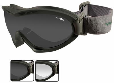 Wiley X Nerve Ballistic Goggle with Foliage Green Frame and Smoke Grey and Clear Lenses