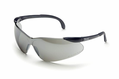 Elvex Trix Safety Glasses with Navy Temples and Silver Mirror Lens