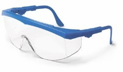 Crews Tomahawk Safety Glasses with Blue Frame and Clear Lens