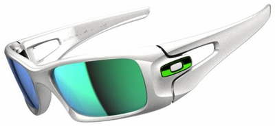 Oakley Crankcase Sunglasses with Polished White Frame and Jade Iridium Lenses