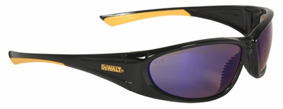 DeWalt Gable Safety Glasses with Black Frame and Blue Mirror Lens