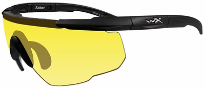 Wiley-X Saber Advanced Ballistic Safety Glasses with Matte Black Frame and Pale Yellow Lenses