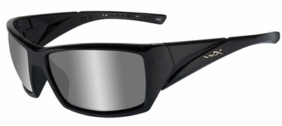 Wiley-X Mojo Safety Sunglasses with Gloss Black Frame and Polarized Silver Flash Lens