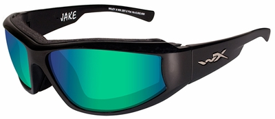 Wiley-X Jake Safety Sunglasses with Gloss Black Frame and Polarized Emerald Mirror Lens