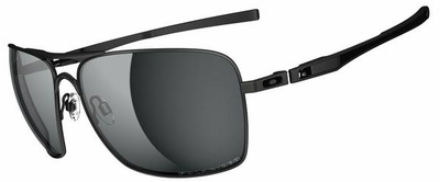 Oakley Plaintiff Squared Sunglasses with Matte Black Frame and Grey Polarized Lenses
