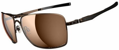 Oakley Plaintiff Squared Sunglasses with Dark Brown Chrome Frame and Bronze Polarized Lenses