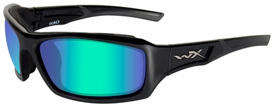 Wiley X WX Echo Ballistic Sunglasses with Gloss Black Frame and Polarized Emerald Lens