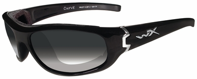 Wiley X Curve Safety Sunglasses with Gloss Black Frame and Light Adjusting Smoke Lens