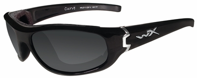Wiley-X Curve Safety Sunglasses with Gloss Black Frame and Smoke Grey Lens