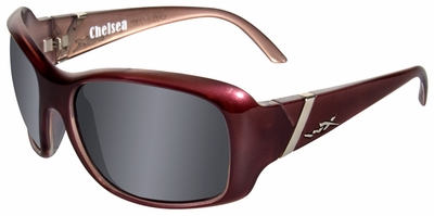 Wiley X Chelsea Safety Sunglasses with Liquid Plum Frame and Smoke Grey Lenses