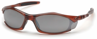 Pyramex Solara Safety Glasses with Orange Frame and Silver Mirror Lens