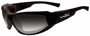 Wiley X Jake Safety Sunglasses with Gloss Black Frame and Light Adjusting Gray Lens