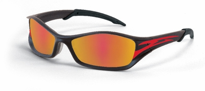 Crews Tribal Safety Glasses with Graphite/Tattoo Frame and Fire Mirror Lens