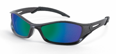 Crews Tribal Safety Glasses with Graphite Vented Frame and Emerald Mirror Lens