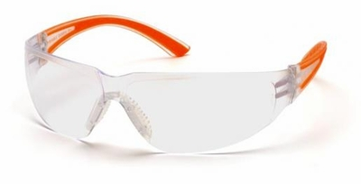 Pyramex Cortez Safety Glasses with Orange Temples and Clear Lens