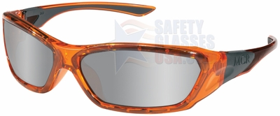 Crews ForceFlex Safety Glasses with Orange Frame and Silver Mirror Lens