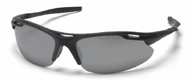 Pyramex Avante Safety Glasses with Black Frame and Silver Mirror Lens