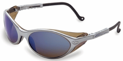 Harley Davidson HD100 Safety Glasses with Silver Frame and Blue Mirror Lens
