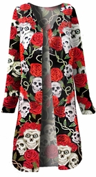 NEW! Skull Roses Tattoo Denim Plus Size Duster Jacket 1x 2x 3x 4x Supersize 5x 6x 7x 8x 9x