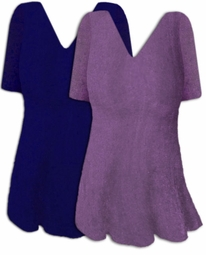 Lovely Blue or Lavender Plus Size V-Neck Slinky Short Sleeve Shirt A-Line or Princess Seam 0x 1x 2x 3x 4x 5x 6x 7x 8x 9x