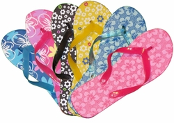FINAL SALE! Spring Time Flip Flops Blue, Pink, Yellow, Black Floral 5 6 7 8