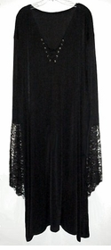 Plus Size Gothic Witchy / Vampiress / Vampire Bell Sleeve Gown Dress Supersize Halloween Costume