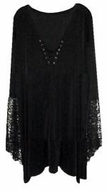 Plus Size Gothic Witchy Bell Sleeve Extra Long Shirt Supersize Halloween Costume