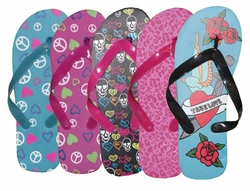 FINAL SALE! Cute Designs Blue Pink or Black Summer Flip Flops S M L XL 5 6 7 8