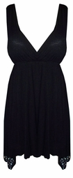 Hot! Solid Empire Waist & Rhinestone Detail Plus Size Slinky - Velvet - Cotton BabyDoll Top Lg to 9x