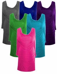 New! Casual Yet Sexy Solid Colors Drape Neckline Plus-Size Slinky Top 0x 1x 2x 3x 4x 5x 6x 7x 8x 9x