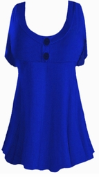 Blue Cotton Lycra Mock Button Top Plus Size & Supersize Short Sleeve Top 1x 2x 3x 4x 5x 6x 7x